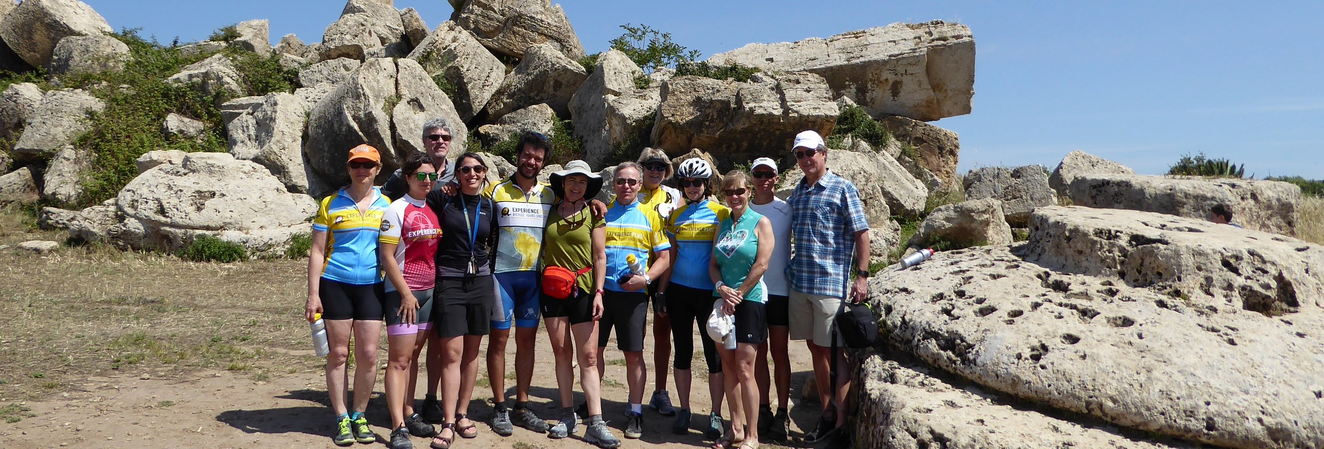 cycling in Sicily with a group of friends on a guided bike tour in Sicily.