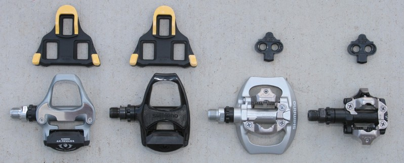 A small variety of the many types of clipless pedals available.