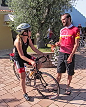 ExperiencePlus! tour leader Enrico Dal Monte checking in before a ride in Sardinia.