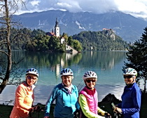 ExperiencePlus! cyclists at Lake Bled. Photo taken by traveler Brooks Zup