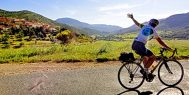 A happy cyclist in the Languedoc