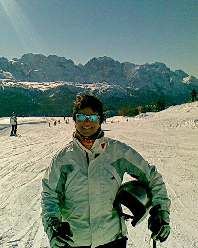Michela skiing in Italy's Dolomite mountains.